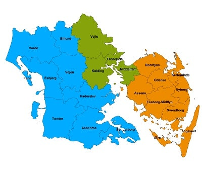 Billedet viser kort over Syddanmark